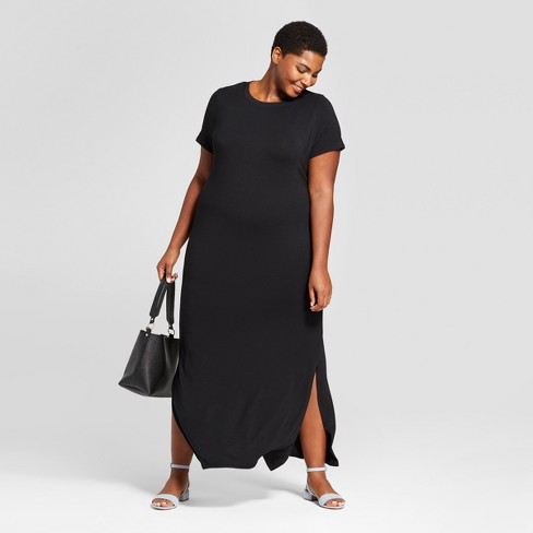 Women's Plus Size T-Shirt Maxi Dress - Ava & Viv™ Black - image 1 of 3