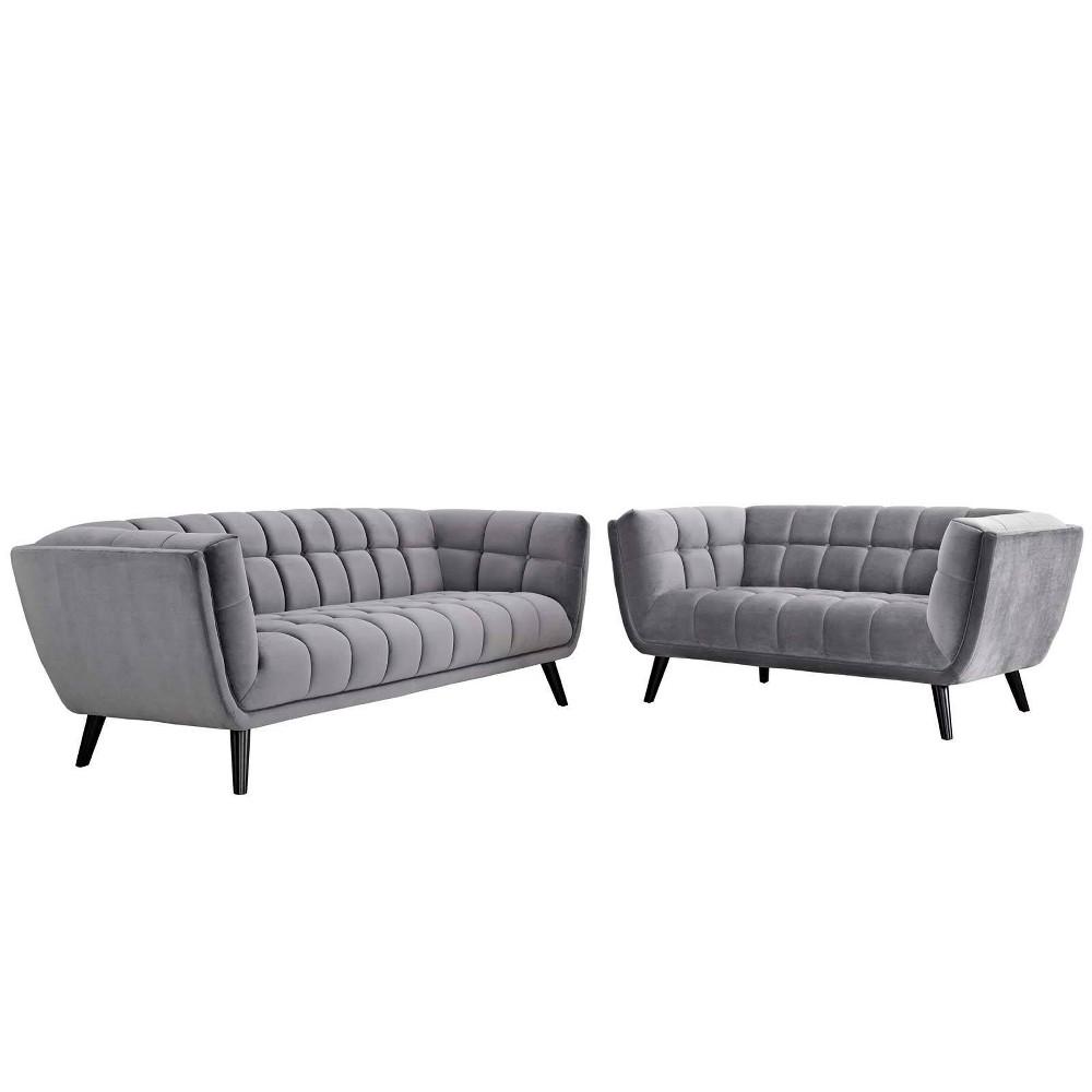 2pc Bestow Velvet Sofa and Loveseat Set Modway