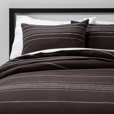Full/Queen Woven Stripe Comforter & Sham Set Iron Gray - Project 62™