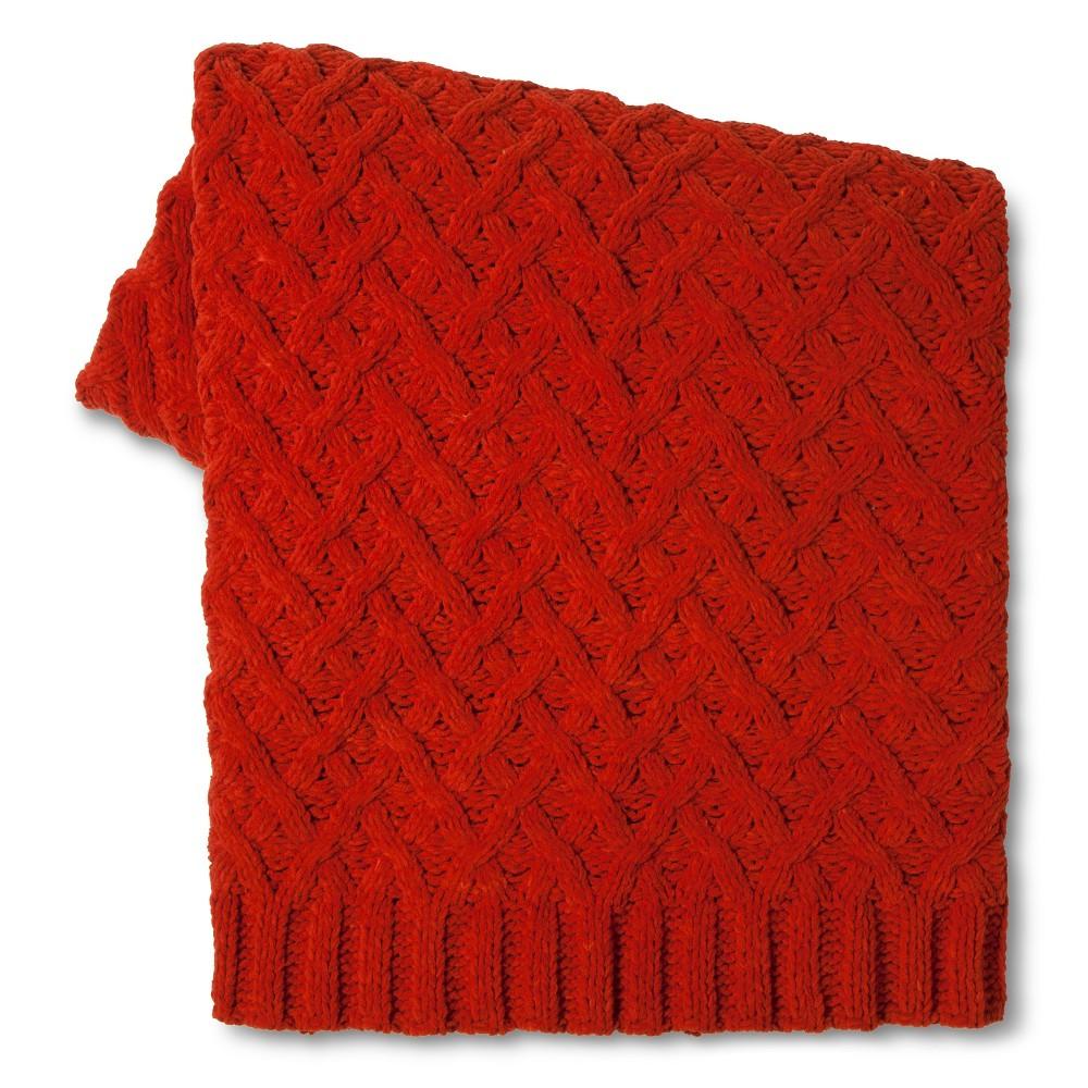 Chunky Chenille Throw Blanket Orange (50