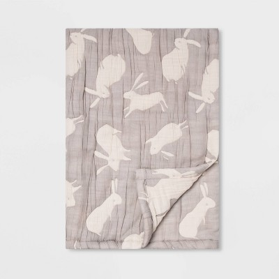 Muslin Baby Blanket Bunnies - Cloud Island™ Gray