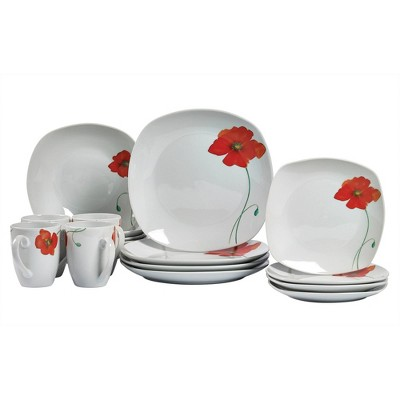 16pc Porcelain Poppy Dinnerware Set - Tabletops Gallery