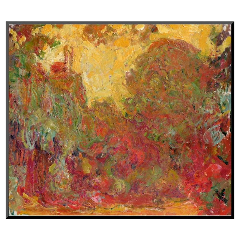 Art.com The House Seen from the Rose Garden, 1922-24 by Claude Monet - Mounted Print, Berry Blush