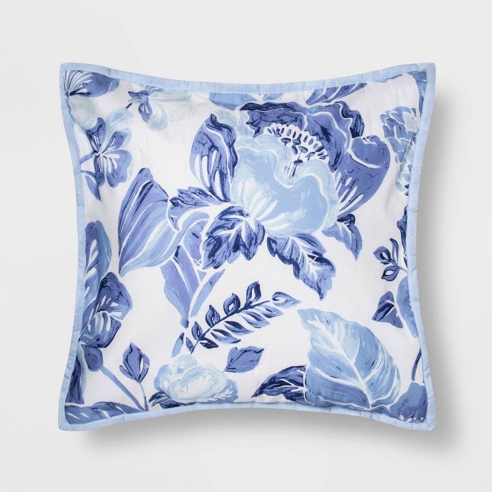 Euro Floral Print Tufted Pillow Sham Blue/White - Opalhouse