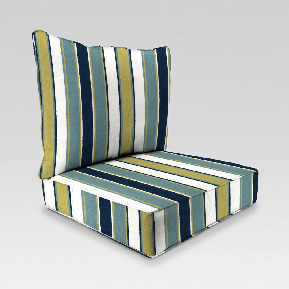 Image of 2pc Deep Seat Chair Cushion - Blue/Green Stripe - Jordan Manufacturing
