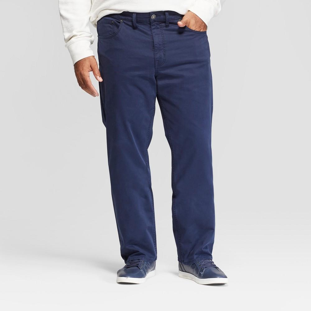 Men's Big & Tall Slim Straight Fit Twill Pants - Goodfellow & Co Navy 50x30, Blue