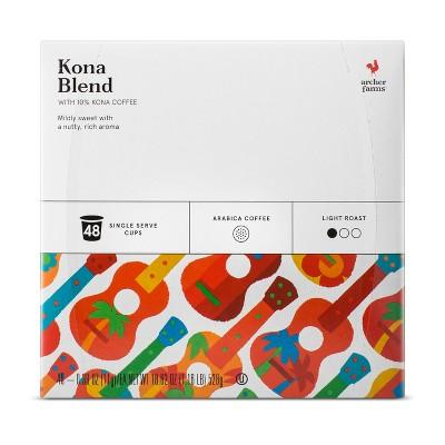 Kona Blend Light Roast Coffee - Single Serve Pods - 48ct - Archer Farms™