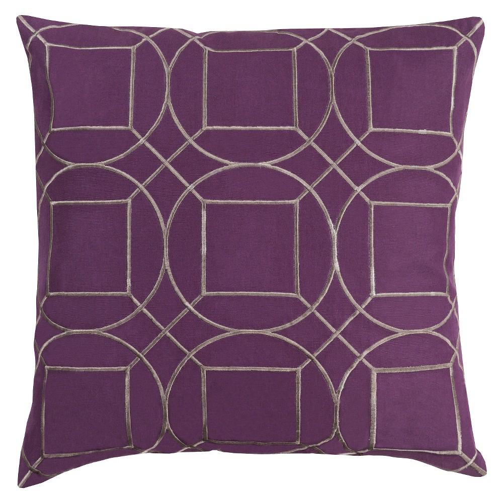 Eggplant Villanova Throw Pillow 18