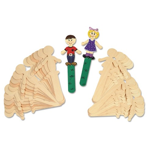 "Chenille Kraft® People-Shaped Wood Craft Sticks, 5 3/8"" - 36 Per Pack - image 1 of 1"