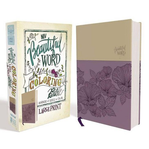 NIV, Beautiful Word Coloring Bible, Large Print, Imitation Leather, Purple/Tan - by  Zondervan (Leather Bound) - image 1 of 1