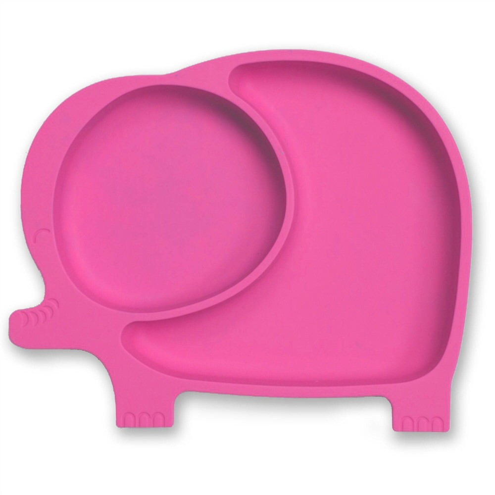 Image of Sage Spoonfuls Silicone Suction Elephant Plate - Pink