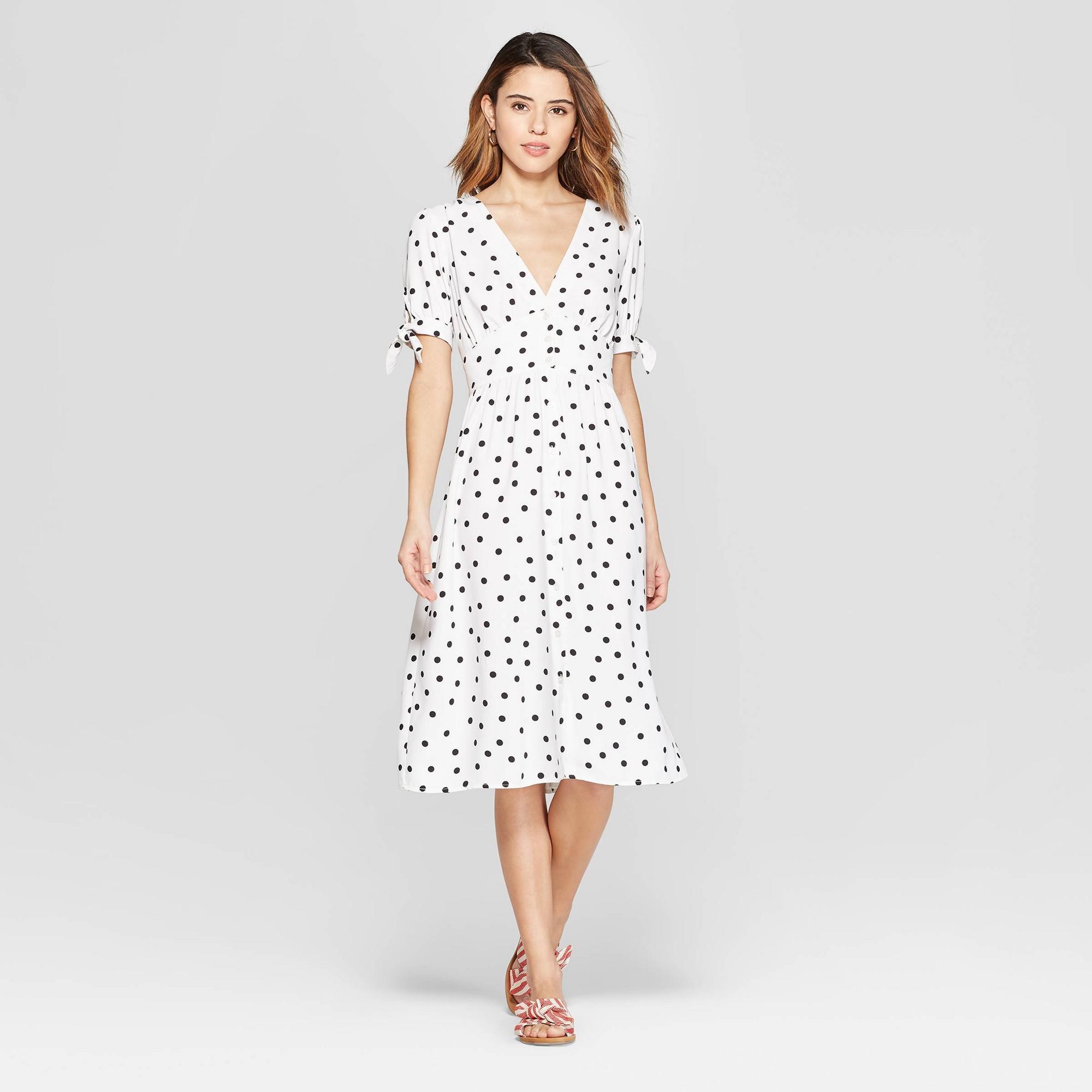 Women's Polka Dot Short Sleeve V-Neck Crepe Dress - A New Day Cream/Black XS, Beige