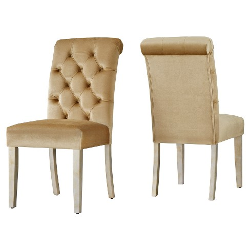 Grammercy Velvet Button Tufted Dining Chair (Set of 2) - Gold - Inspire Q - image 1 of 4
