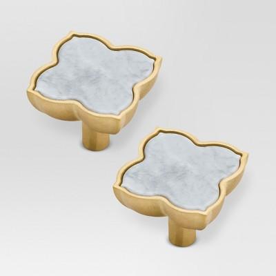 Knob - White Marble/Brushed Brass - 2pk - Threshold™