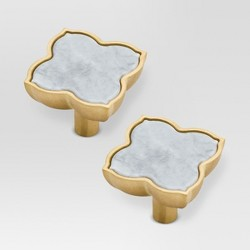 Knob - White Marble/Brushed Brass - 2pk - Threshold™
