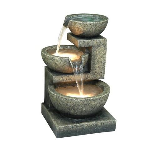 "22"" 3 Bowl Natural Water Fountain with LED Lights Brown - Hi-Line Gift - image 1 of 2"