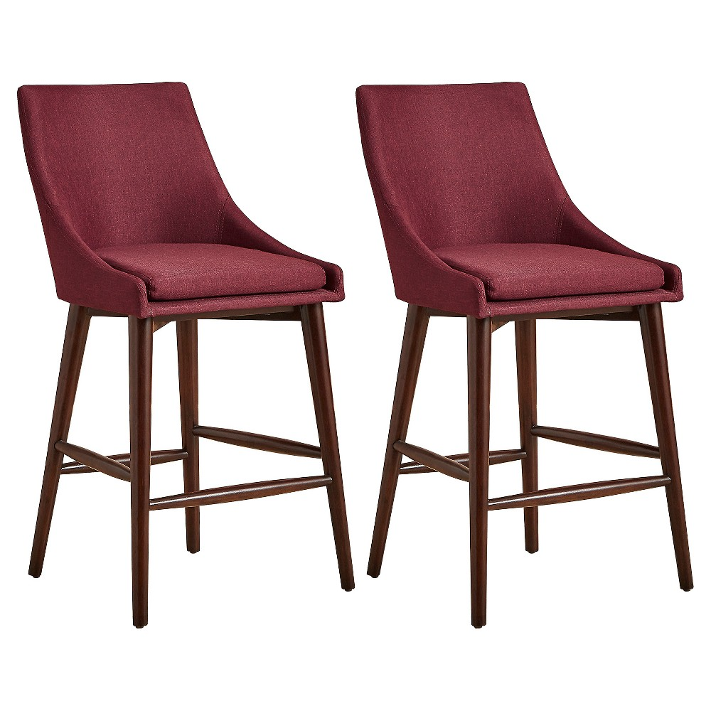 Sullivan Mid Century Barrel Back Counter Chair (Set Of 2) - Merlot - Inspire Q, Raspberry Wine