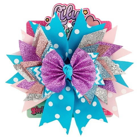 Lily Frilly Hair Bow - Blue - image 1 of 4