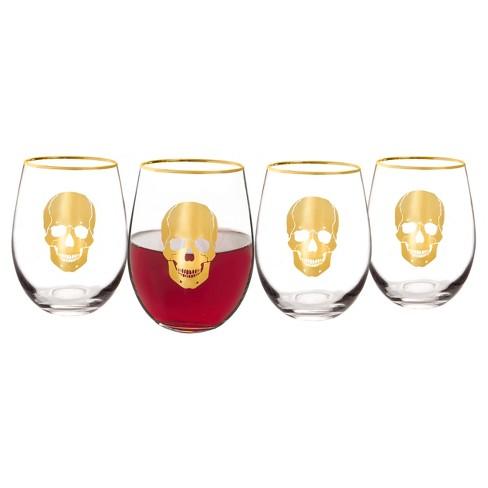 4pc Halloween Gold Skull Wine Glasses - image 1 of 4