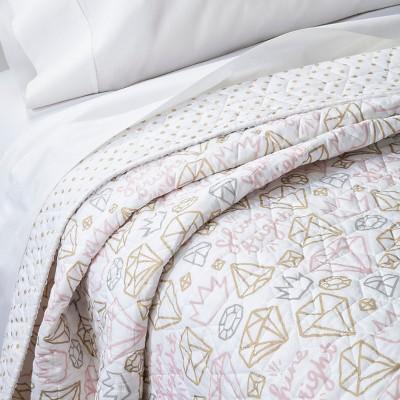 Twin Metallic Jewels Quilt White & Gold - Pillowfort™
