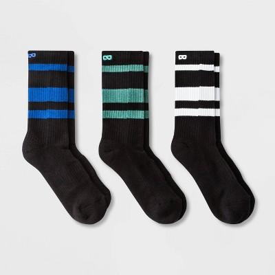 Pair of Thieves Men's 3pk Stripe Cushion Crew Casual Socks - Blue/Green/White 8-12