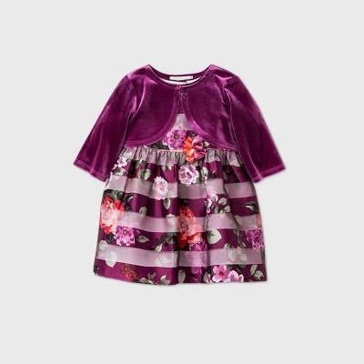 Mia & Mimi Baby Girls' Print Shadow Striped Dress with Shrug - 0-3M