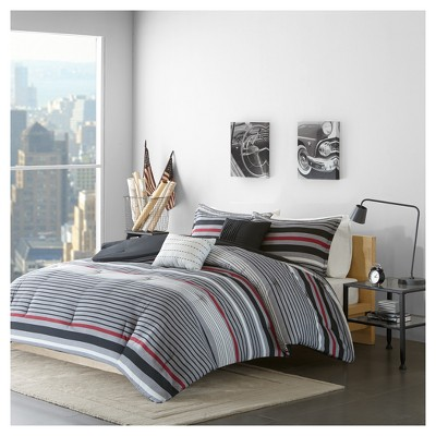 Black & Red Justin Stripe Printed Comforter Set (Full/Queen)5pc