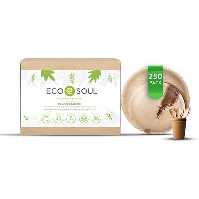 ECO SOUL Round 100 Percent Compostable, Biodegradable, Disposable Palm Leaf Plates and Birchwood Dinnerware Set, Microwave and Oven Safe (250 Piece)