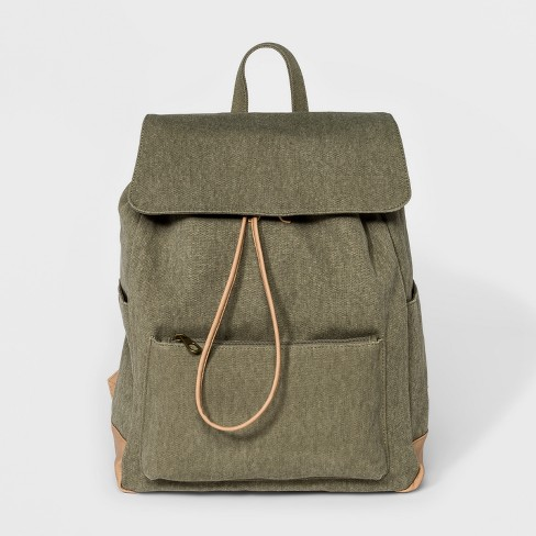 Large Flap Olive Canvas Backpack - Universal Thread™ Olive - image 1 of 4