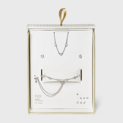 Silver Plated with Cubic Zirconia Stationed Necklace, Earring and Bracelet Set - A New Day™ Gold