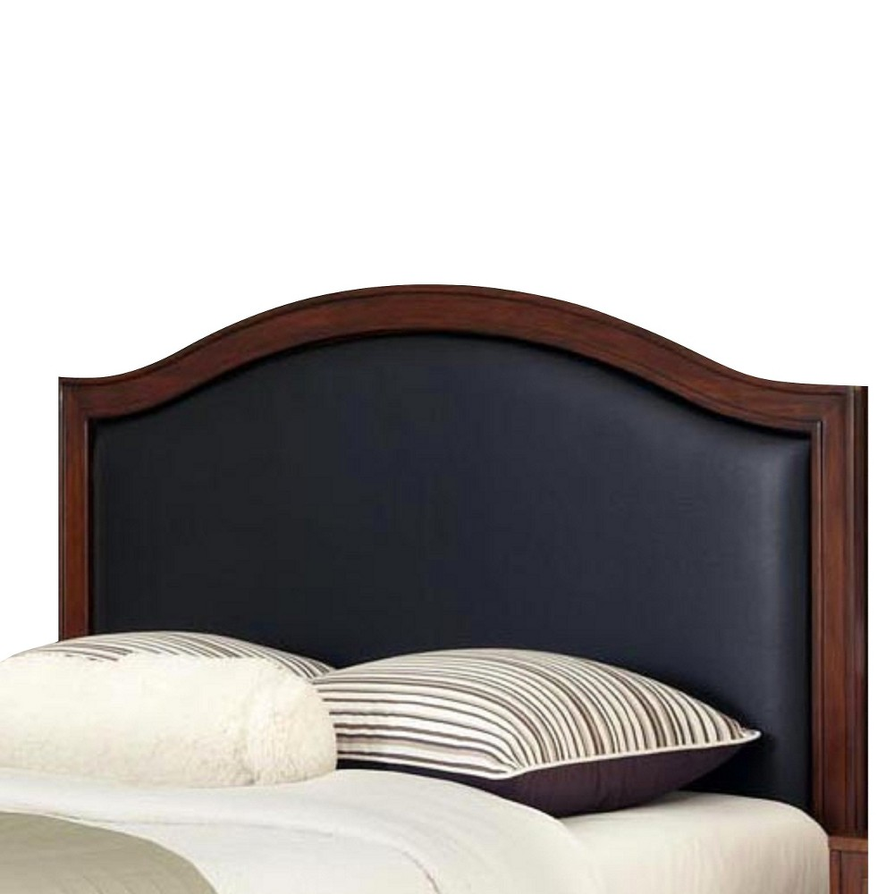 Duet Leather Inset Headboard Black (Full/Queen) - Home Styles, Rustic Cherry