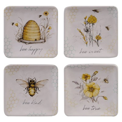 "6"" 4pk Earthenware Sweet As A Bee Canape Plates - Certified International"