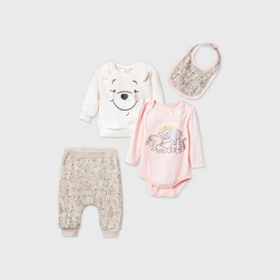Baby Girls' 4pk Winnie the Pooh Woobie Fleece Long Sleeve Top and Bottom Set - Oatmeal Heather 0-3M