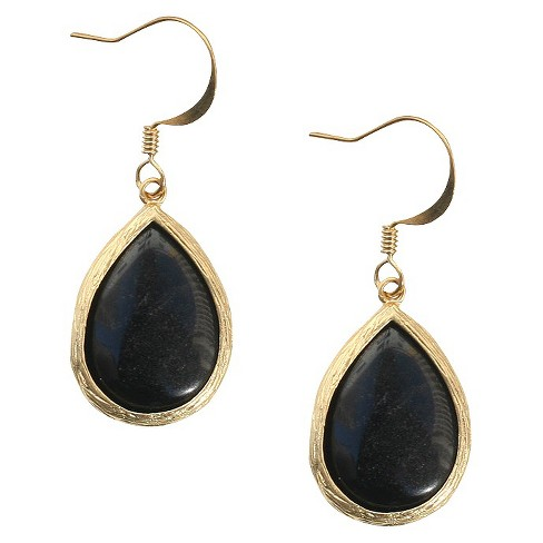Onyx Fish Hook Earring - image 1 of 1