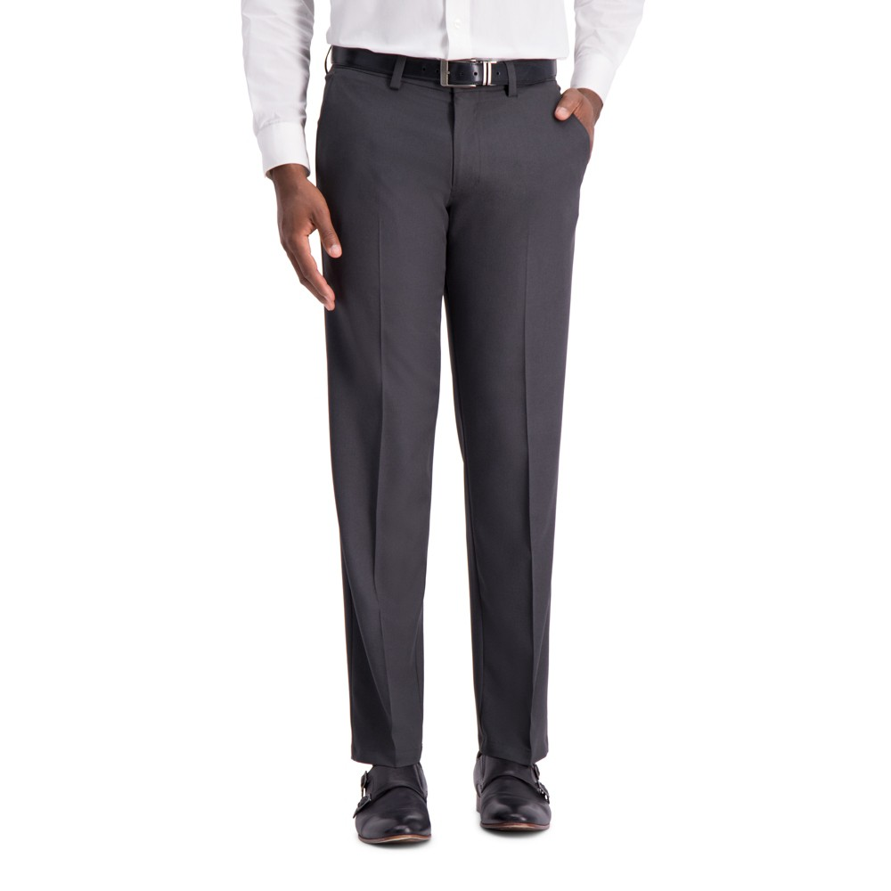 Image of Haggar H26 Men's Big & Tall Straight Fit 4 Way Stretch Trousers - Heather Gray 46x34