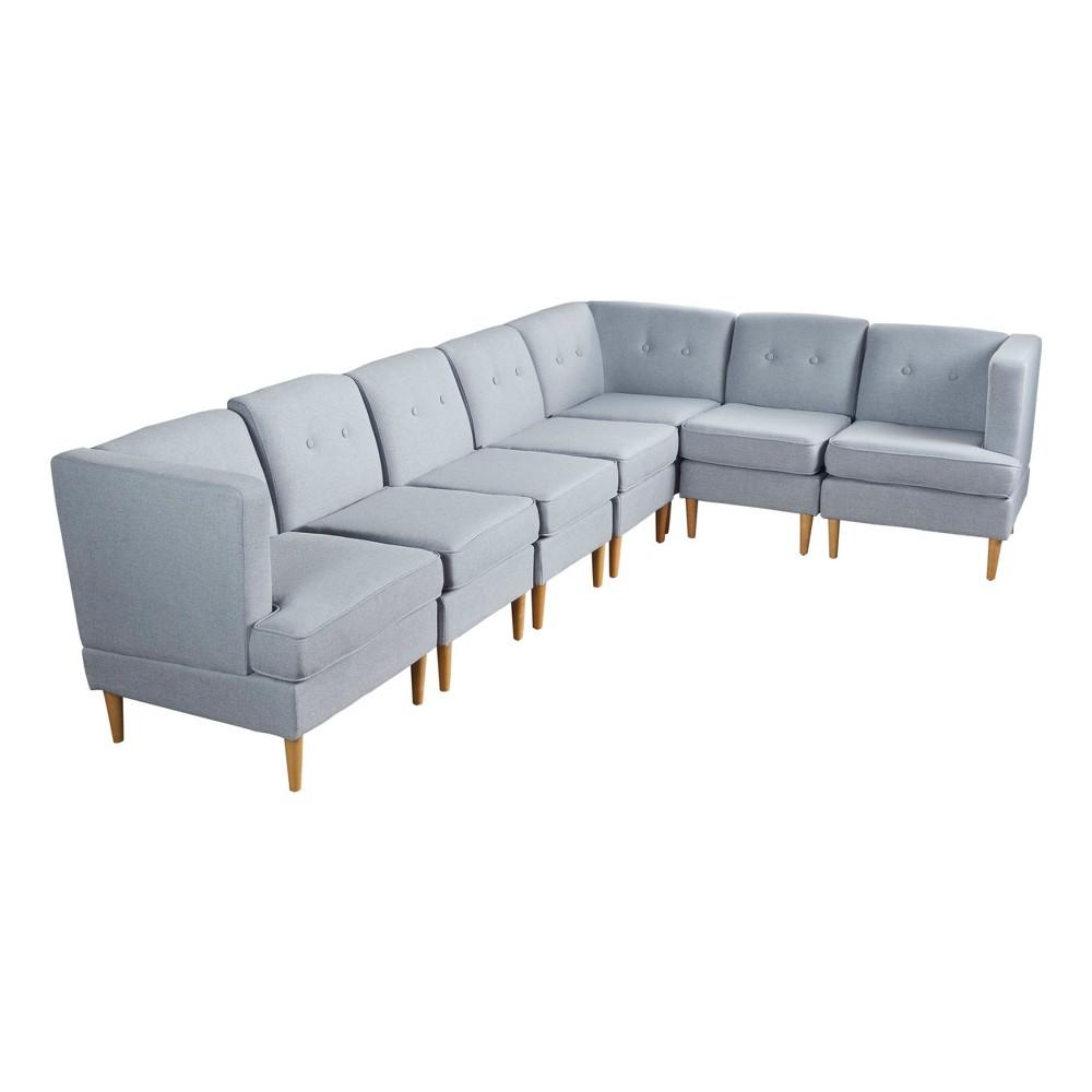 7pc Milton Sectional Sofa Set Light Gray - Christopher Knight Home