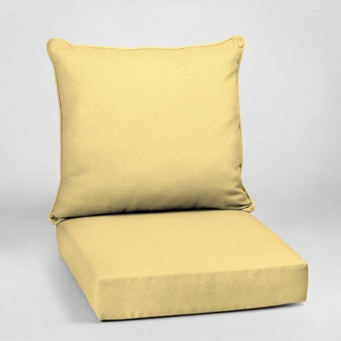 Shirt Texture Deep Seat Outdoor Cushion Set Yellow - Arden Selections - image 1 of 2