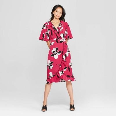 82b3fc51e4b0a Women s Short Sleeve V-Neck Button Front Wrap Dress - Who What Wear™