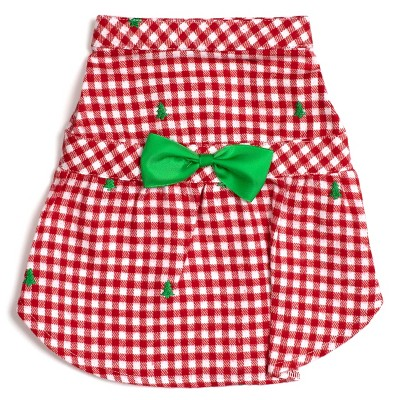The Worthy Dog Flannel Check Plaid Embroidered Trees Adjustable Pet Dress