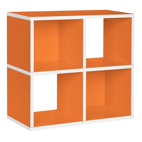 Under Desk Storage 4 Cubby Bookshelf Eco Friendly And Formaldehyde Free Orange