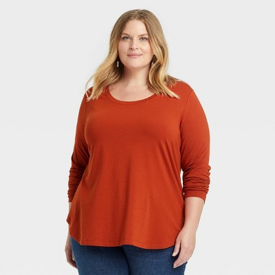 Women's Plus Size Long Sleeve Relaxed Fit Scoop Neck T-Shirt - Ava & Viv™