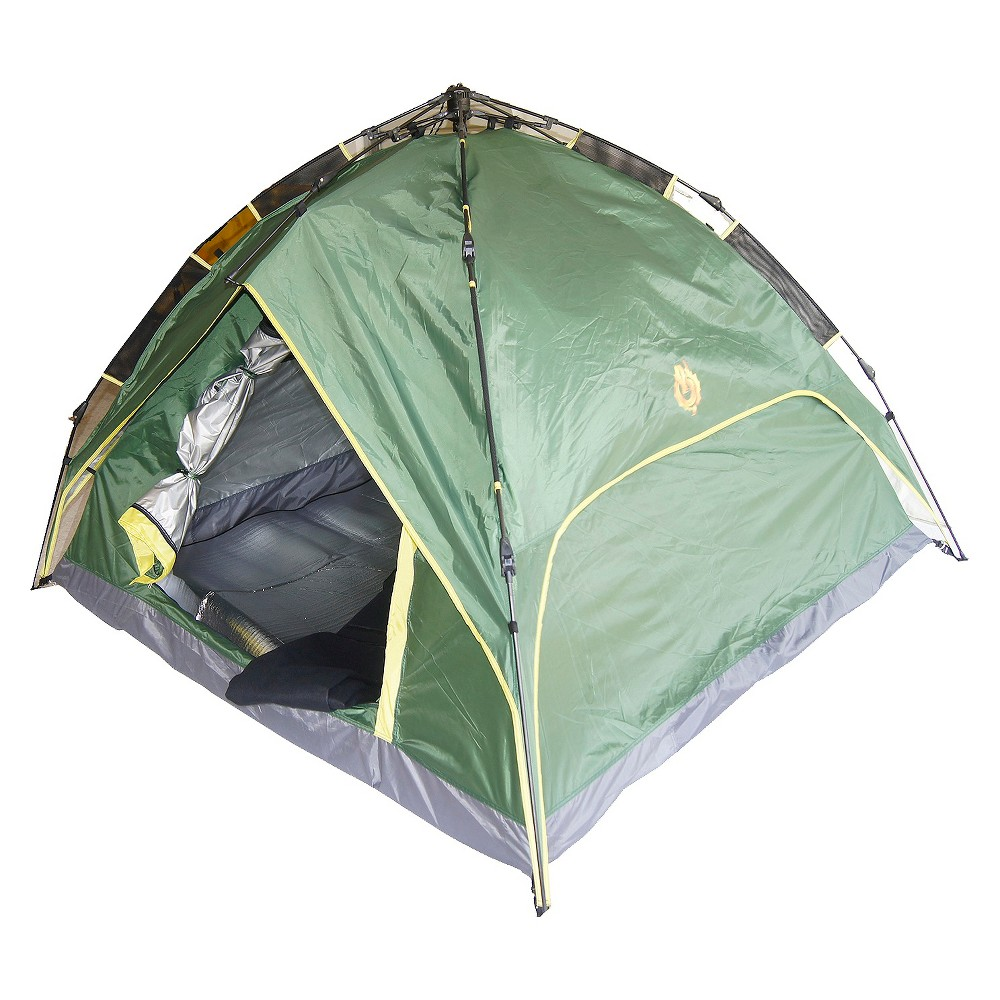 Foldable Camping Tent - Green • ORE's Foldable Camping Tent brings fun, excitement, and memories to the outdoors, this tent is a must have in your camping equipment.• Pre-attached steel and fiberglass poles and automatic opening system, it will only take 1 minute to set it up and fold it down.• Featuring a classic dome design is spacious enough for four people. Tent measure 87L x 82 W x 55 H.• Large front and rear D-shape doors allow for easy access.• Large mesh panels and side wall vents allows fresh air in, while keeping the insects out Color: Green.