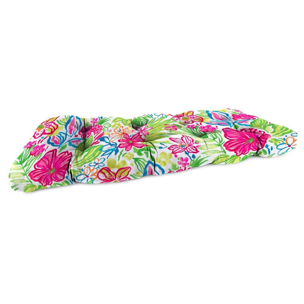 Outdoor Wicker Loveseat Cushion In Valeda Island - Jordan Manufacturing, Multi-Colored
