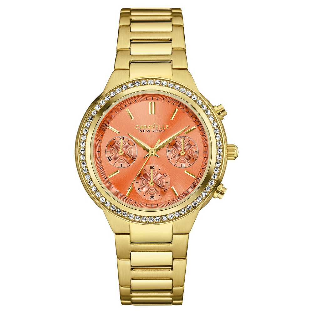 Image of Women's Caravelle New York Swarovski Crystal Gold Tone Watch 44L218 - Bright gold, Size: Small, Orange Gold