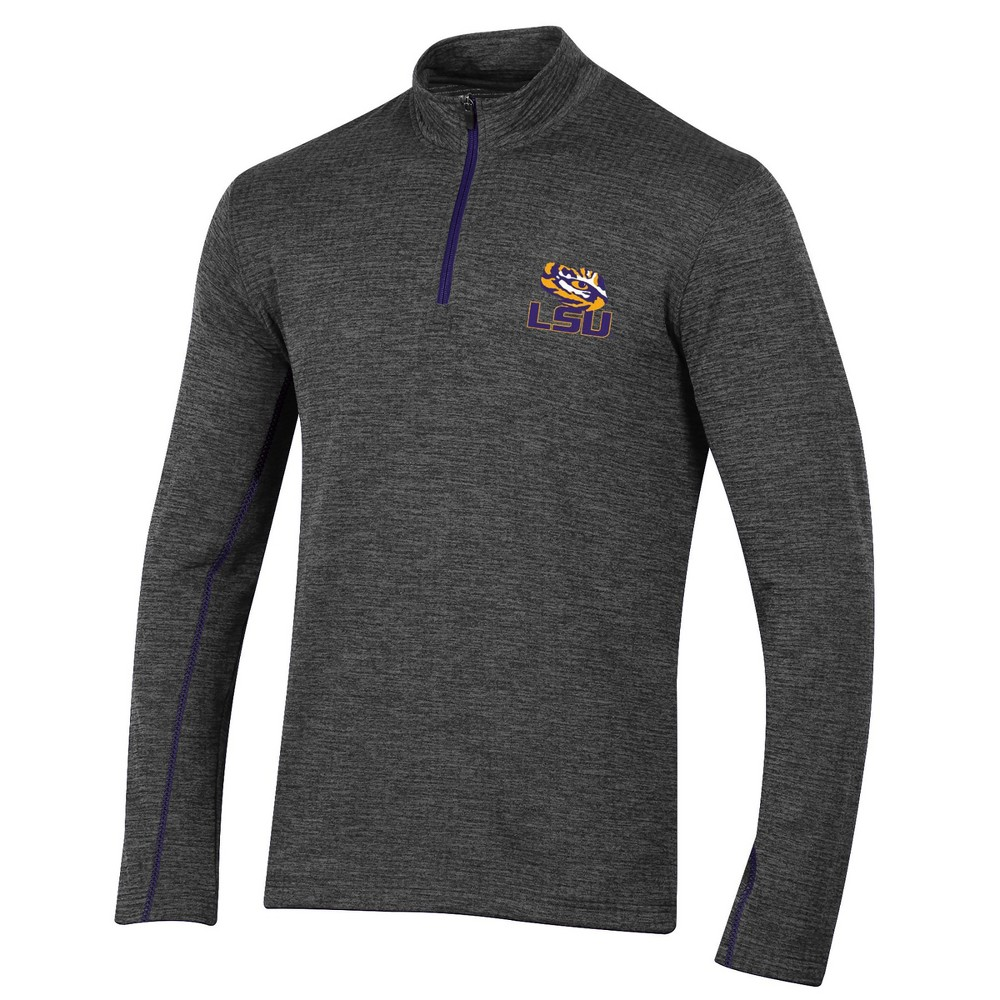 Lsu Tigers Men's Long Sleeve Digital Textured 1/4 Zip Fleece - Gray L