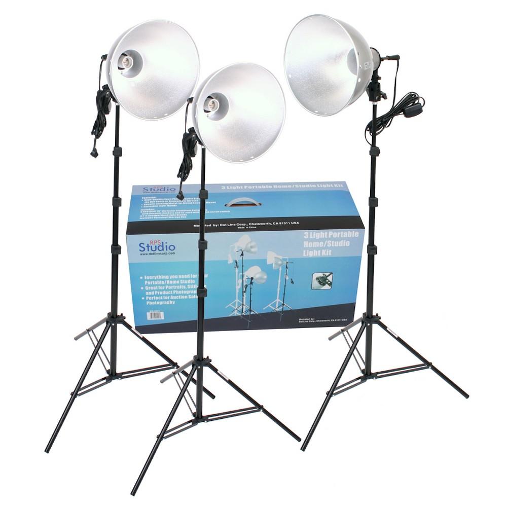 Rps Studio 3 Light Photoflood, Reflector and Stands Studio Kit - Black (RS-4003)