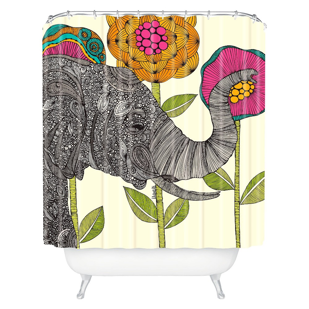Image of Aaron Elephant Shower Curtain Dark Heather - Deny Designs
