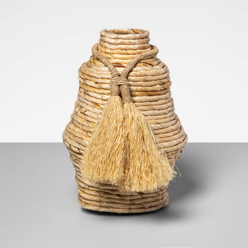 "Image of ""10"""" x 7.5"""" Decorative Woven Vase with Tassels Brown - Opalhouse"""