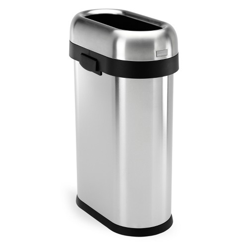 simplehuman 50 Liter Slim Open Top Trash Can, Commercial Grade, Heavy-Gauge Brushed Stainless Steel - image 1 of 4
