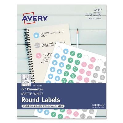 "Avery Printable Self-Adhesive Permanent 3/4"" Round ID Labels 3/4"" dia. White 800/Pk 4221"